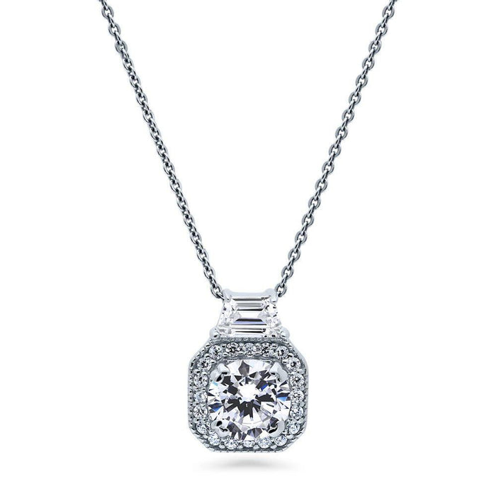 Art Deco Halo Necklace made with Premium Zirconia