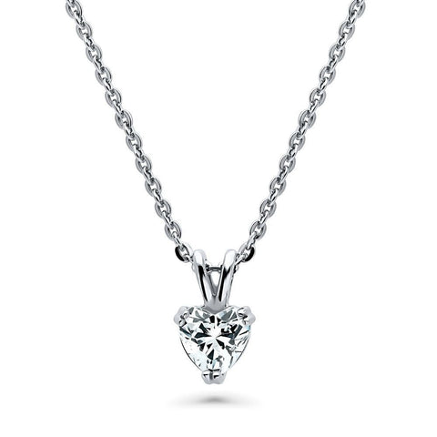 Heart Solitaire Necklace & Earrings Set made with Swarovski® Zirconia