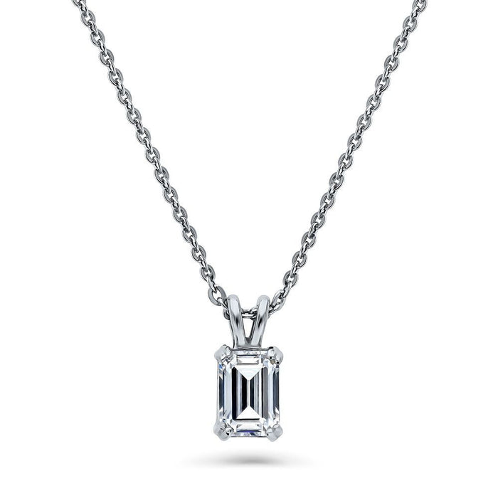Emerald Cut Necklace Made with Swarovski® Zirconia