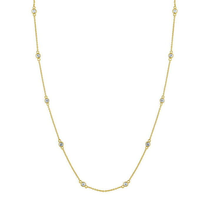 Station Necklace Made with Swarovski® Zirconia - Gold