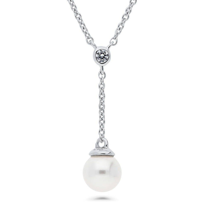 Crystal Drop Pearl Necklace