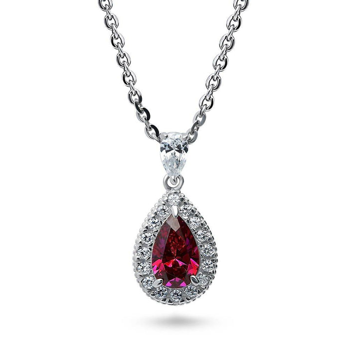 Ruby Pear Halo Necklace made with Swarovski® Zirconia