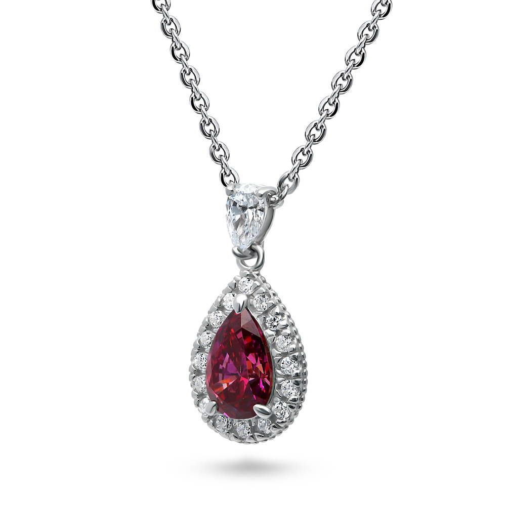 Ruby Pear Halo Necklace & Earrings Set made with Swarovski® Zirconia