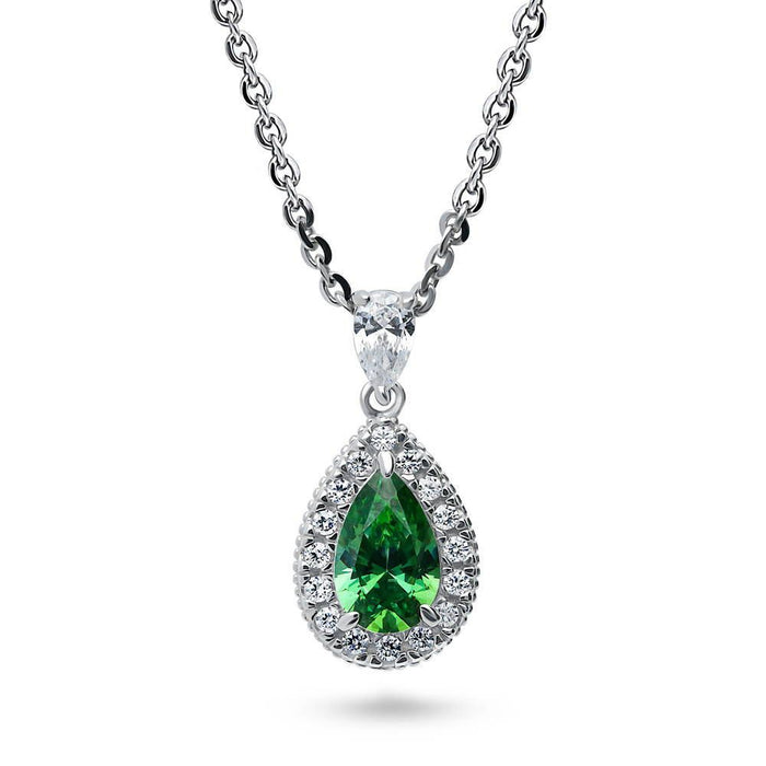 Emerald Pear Halo Necklace made with Swarovski® Zirconia