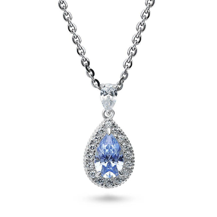 Blue Pear Halo Necklace made with Swarovski® Zirconia