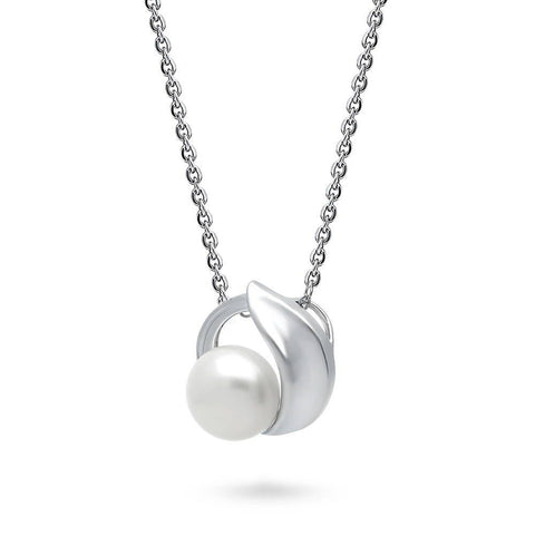 White Button Pearl Necklace