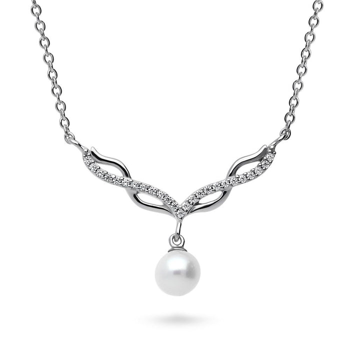Crystal Infinity Pearl Necklace
