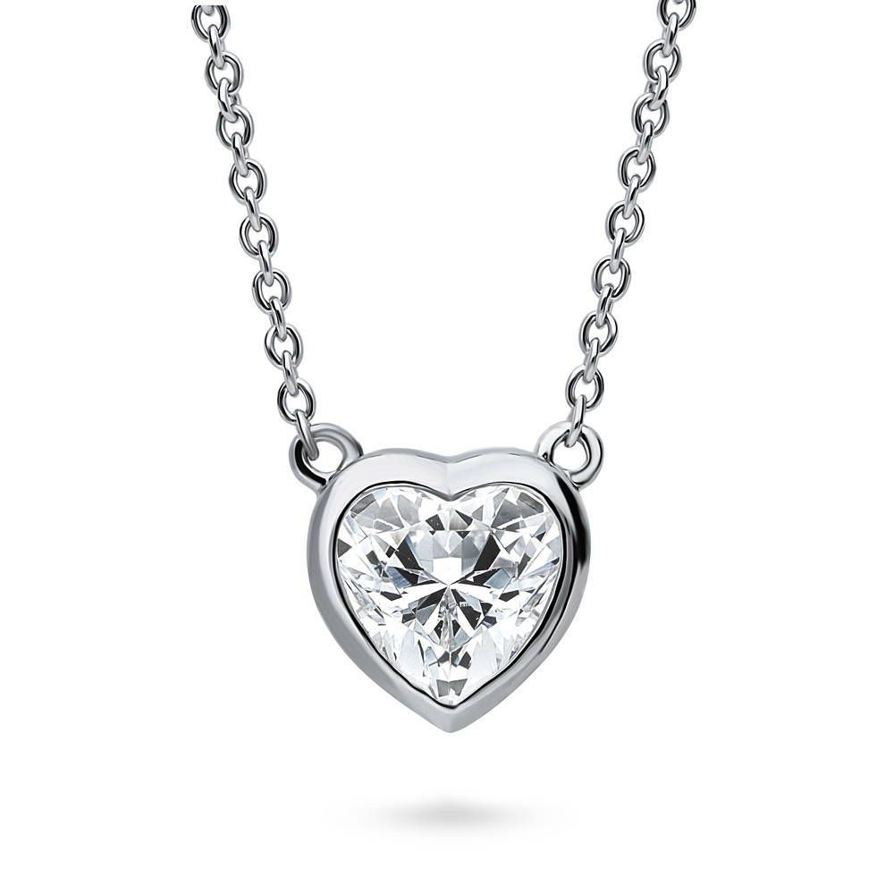 Solitaire Framed Heart Necklace made with Swarovski® Zirconia