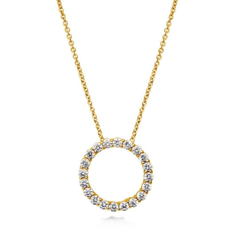 Open Circle Necklace made with Premium Zirconia - Gold
