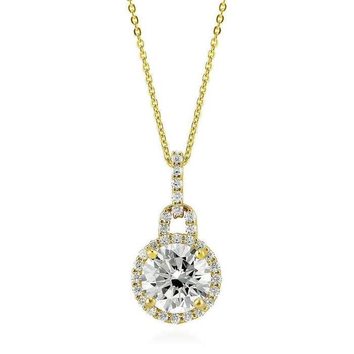 Gold Round Halo Necklace made with Premium Zirconia