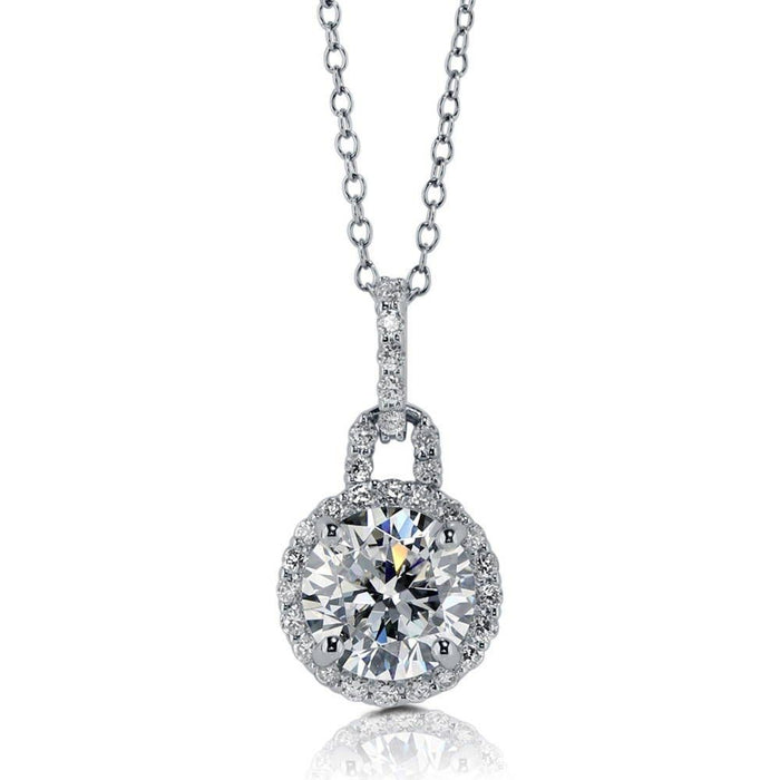 Round Halo Necklace made with Premium Zirconia