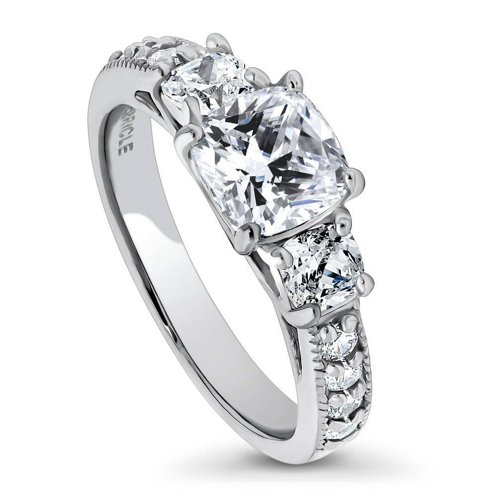 3-Stone Cushion Cut Ring made with Premium Zirconia