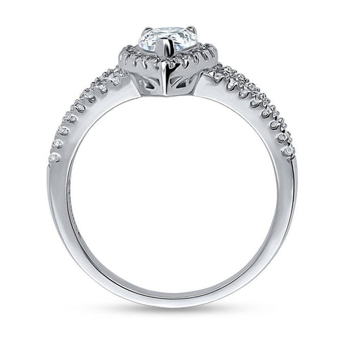 Pear Halo Split Shank Ring made with Swarovski® Zirconia