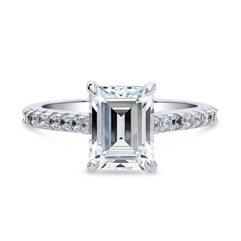 Emerald Cut Solitaire Ring made with Premium Zirconia