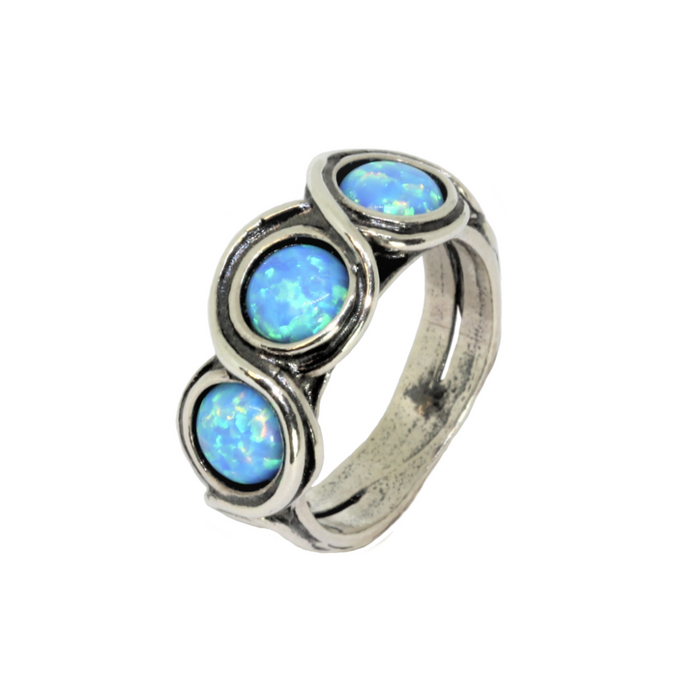 Blue Created Opal Silver Ring with 3 Round Stones