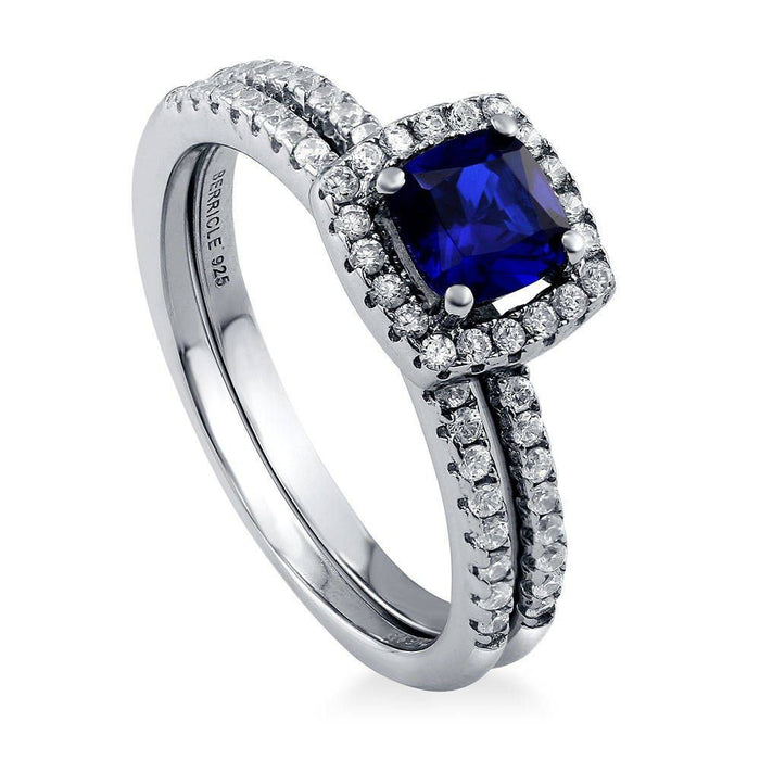 Cushion Halo Ring Set made with Premium Zirconia - Sapphire Blue