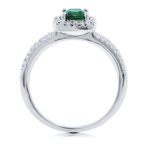 Emerald Cushion Cut Halo Ring made with Premium Zirconia