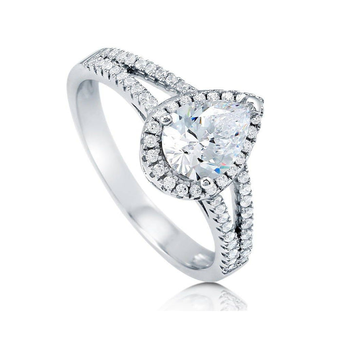 Pear Halo Split Shank Ring made with Premium Zirconia