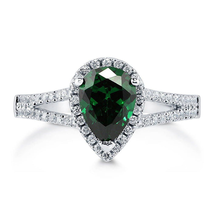 Pear Emerald Zirconia Halo Split Shank Ring made with Premium Zirconia