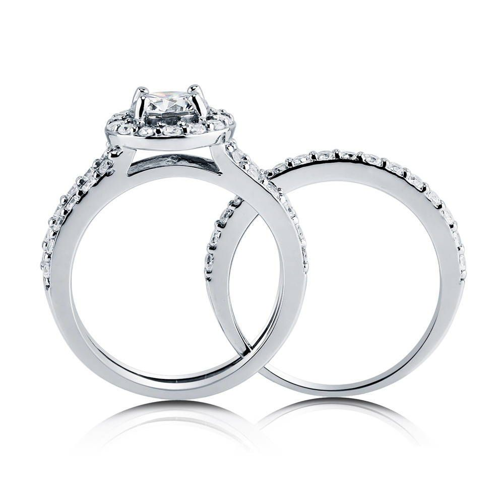 Round Halo Insert Ring Set made with Premium Zirconia