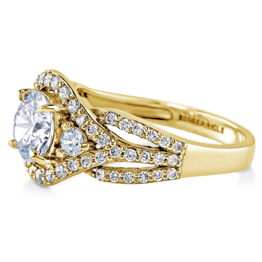 Gold Halo 3-Stone Ring made with Premium Zirconia