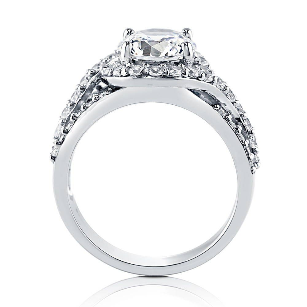 Glamorous Round Halo Ring made with Premium Zirconia