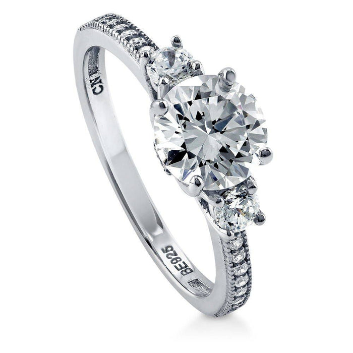 3-Stone Solitaire Ring made with Premium Zirconia