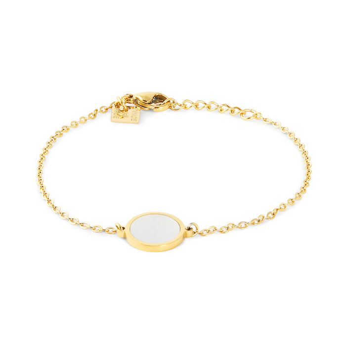 Gold Mother of Pearl Disk Bracelet