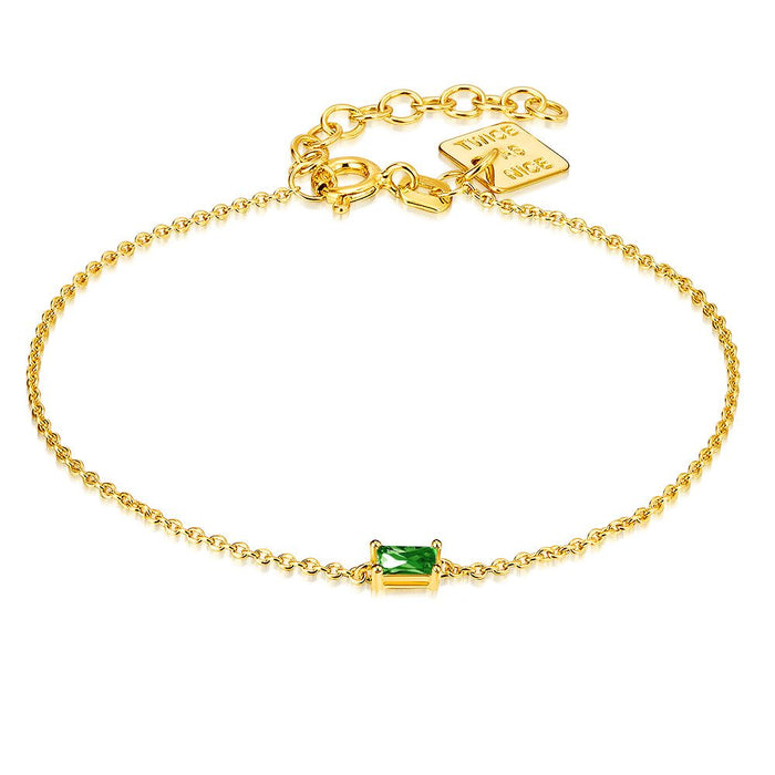 Gold Emerald Cut Bracelet