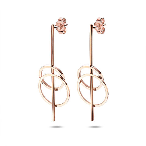Rose Gold Bar and Circle Earrings