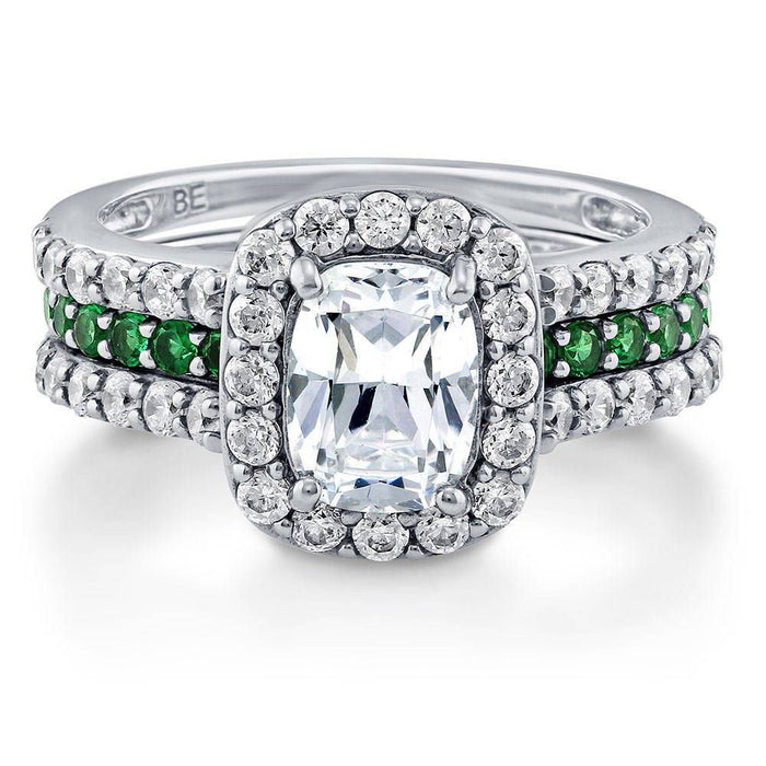 Cushion Halo Insert Ring Set made with Premium Zirconia