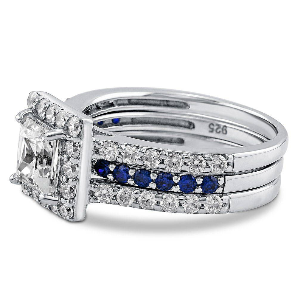 Princess Cut Halo Insert Ring Set made with Premium Zirconia
