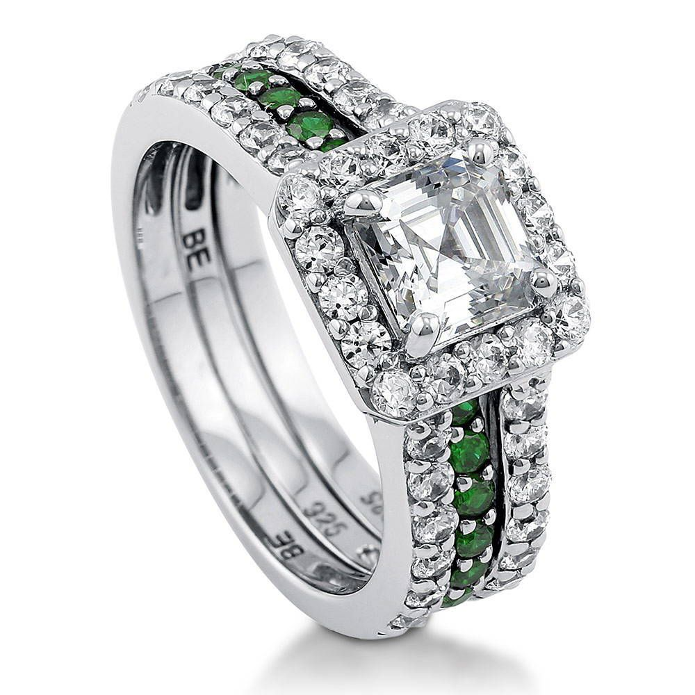 Asscher Cut Halo Insert Ring Set made with Premium Zirconia
