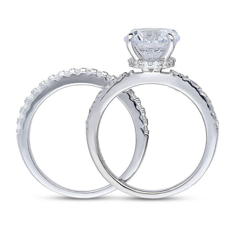 Halo Solitaire Ring Set made with Premium Zirconia
