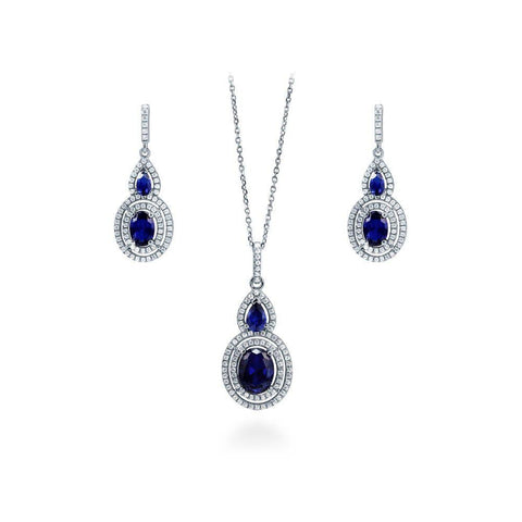 Blue Sapphire Oval Halo Necklace and Earrings Set made with Premium Zirconia