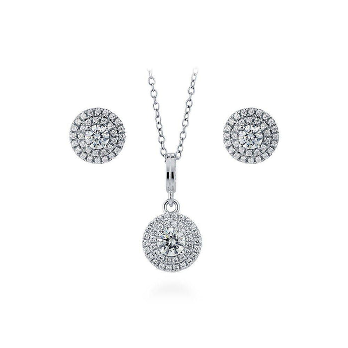 Halo Necklace & Earrings Set made with Swarovski® Zirconia