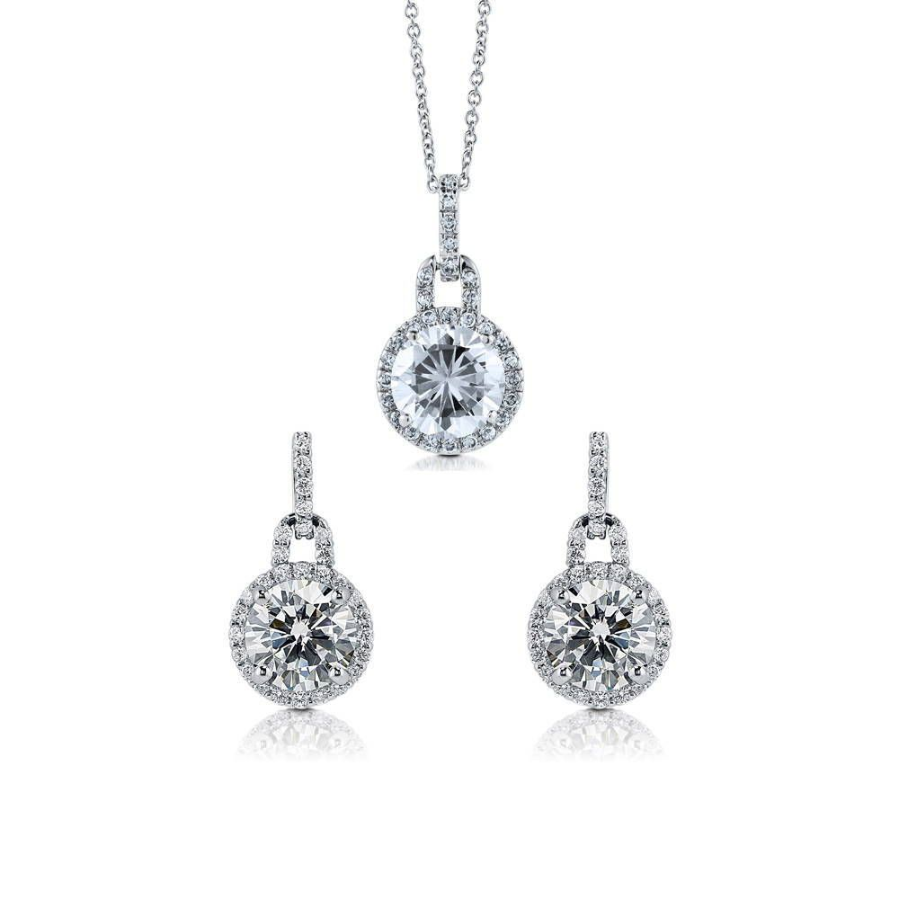 Round Halo Necklace & Earring Set made with Premium Zirconia
