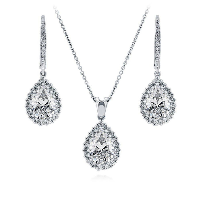 Pear-Shaped Halo Earrings and Necklace Set made with Premium Zirconia
