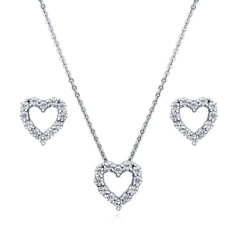 Open Heart Necklace & Earring set made with Premium Zirconia