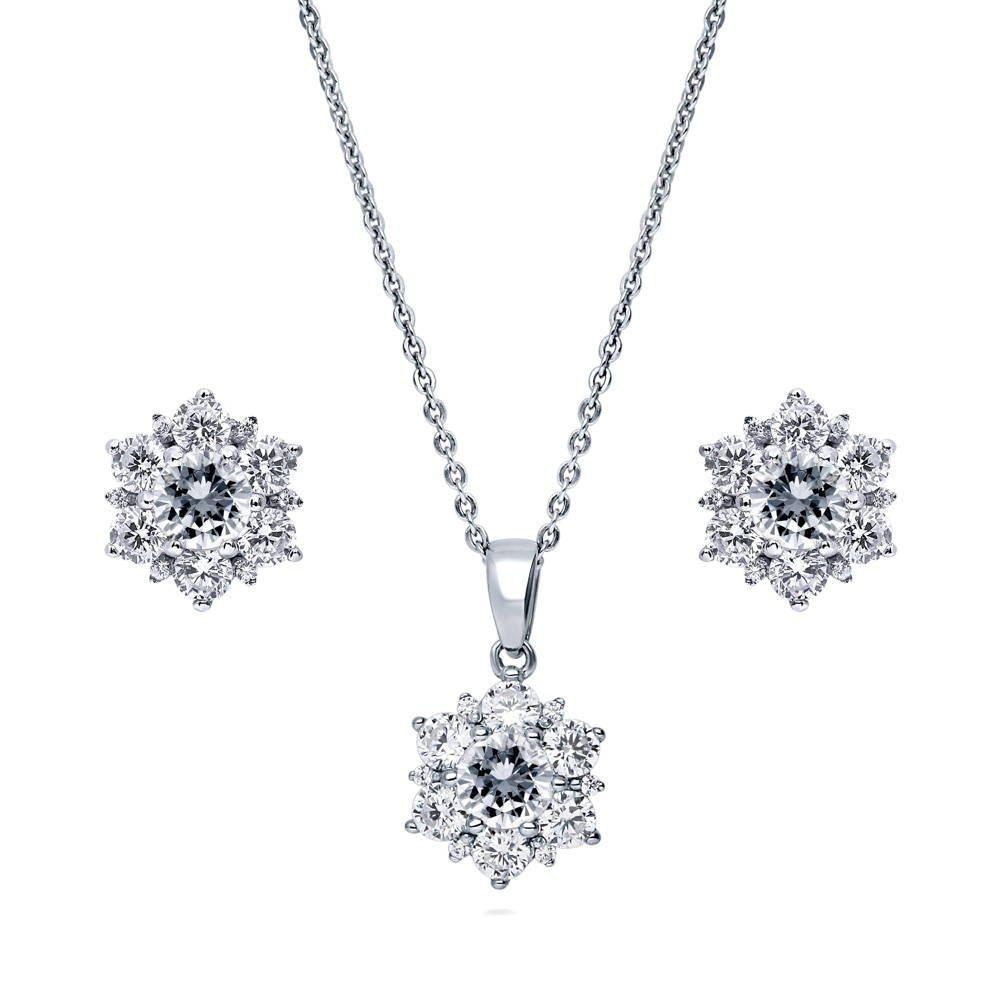 Flower Necklace & Earrings Set made with Premium Zirconia