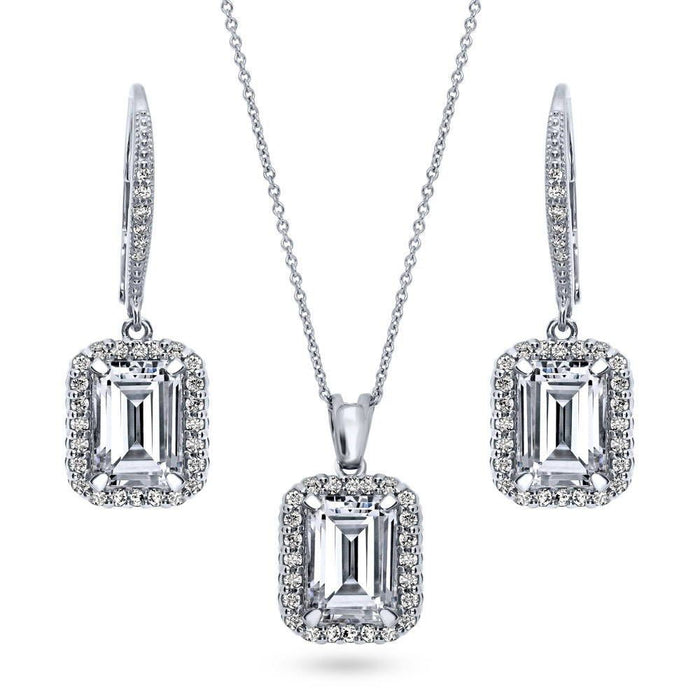 Emerald Cut Halo Necklace and Earrings Set made with Premium Zirconia