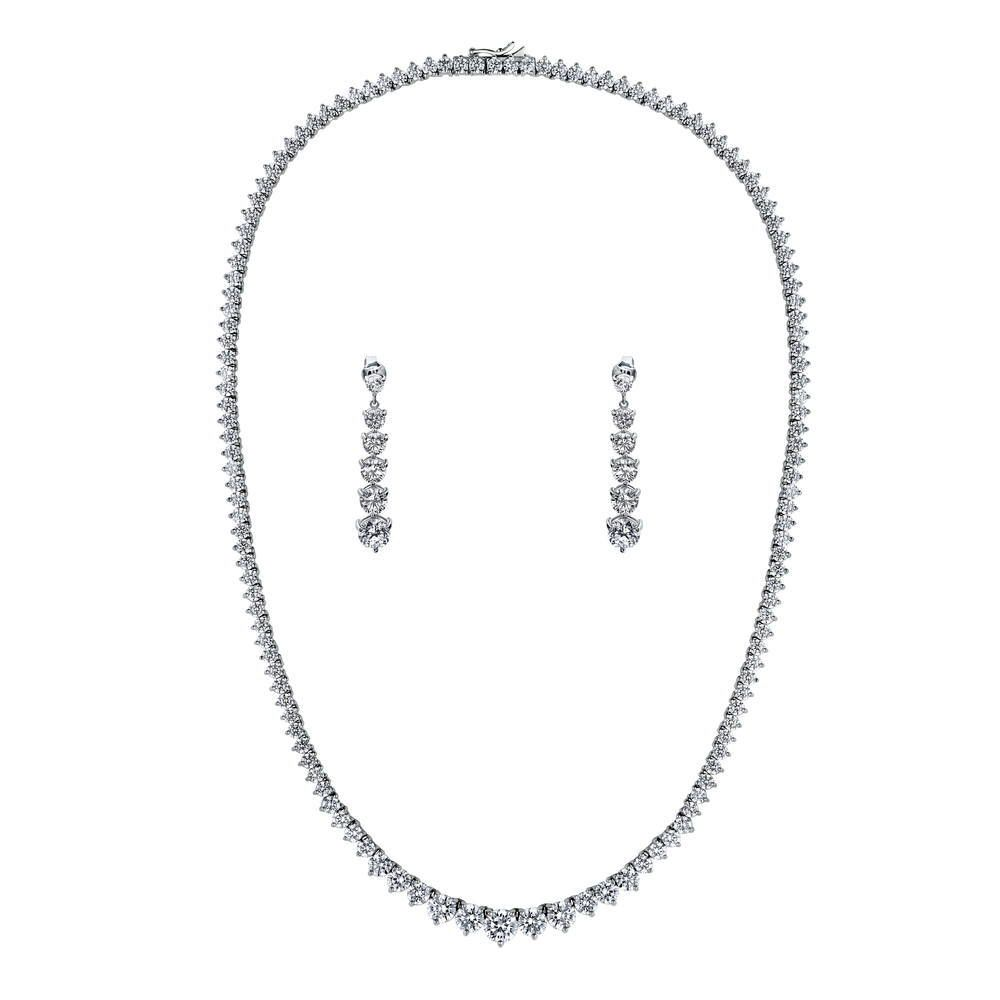 Tennis Graduated Necklace & Earring set made with Premium Zirconia - 16 inch