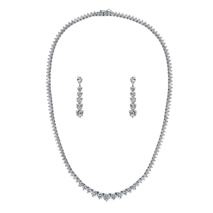 Tennis Graduated Necklace & Earring set made with Premium Zirconia - 18 inch