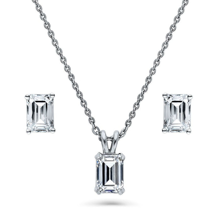 Emerald Cut Necklace & Earring Set Made with Swarovski® Zirconia