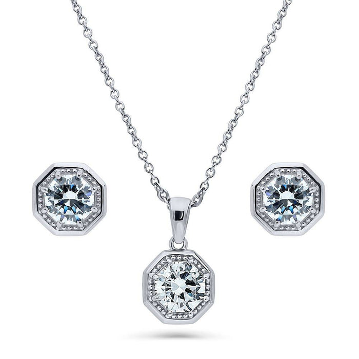 Art Deco Milgrain Necklace & Earrings Set made with Swarovski® Zirconia