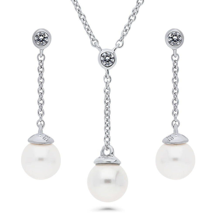 Crystal Drop Pearl Necklace & Earrings Set