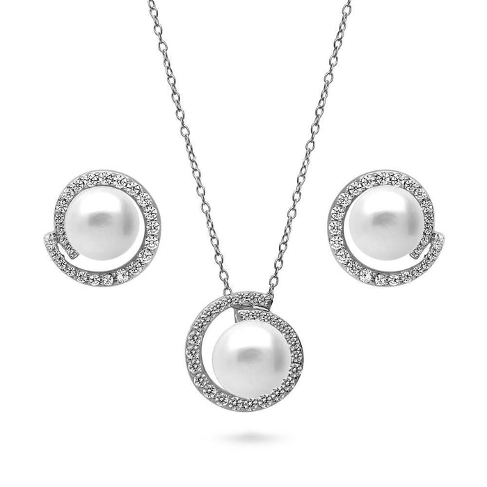 White Button Crystal Pearl Necklace & Earrings Set