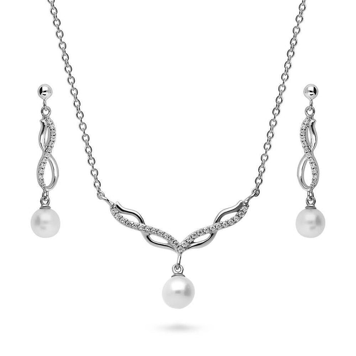 Crystal Infinity Pearl Necklace & Earrings Set