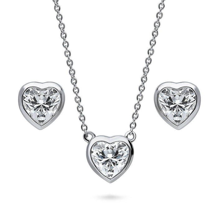 Solitaire Framed Heart Earrings & Necklace Set made with Swarovski® Zirconia