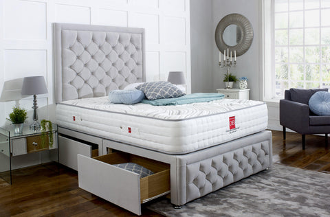 Andalusia Divan Bed Set with Tall Button Headboard and Footboard - Divan Bed Warehouse